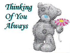 Tatty Teddy - Thinking-Of-You-Always Teddy Bear Quotes, Teddy Bear Images, Teddy Bear Pictures, Bear Pics, Hugs And Kisses Quotes, Hug Quotes, Tatty Teddy, Blue Nose Friends, Friends In Love