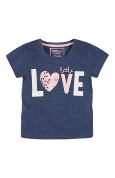 Primark - Blue Little Love Slogan T-Shirt