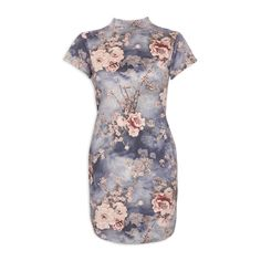 Grey Rose Suede Dress - Dresses   YDE South African Fashion, Grey Roses, Gray Dress, Printing On Fabric, Dress Skirt, Short Sleeve Dresses, Clothing, Sleeves, Formal Skirt