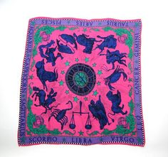 vintage pink & purple zodiac scarf / astrology signs
