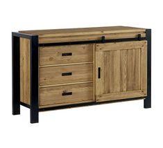 Bahut industriel porte coulissante 'Lugano' Lugano, Iron Furniture, Furniture Design, Aquarium Cabinet, Barn Door Cabinet, Wooden Cabinets, Kitchen Cabinet Design, Wood Sculpture, Home
