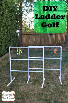 12 Golf Balls – 6 each of 2 different colors     6 pieces of rope cut at 20″     A drill bit with a slightly larger diameter than the rope     1.5″ diameter PVC pipe cut to the following lengths:          6 – 3 feet         20 – 1 foot         4 – elbows         8 – end caps         12 – T pieces