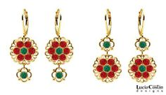 European Inspired Two Pairs of Earrings in One by Lucia Costin with Dangle Flowers and Dots, Accented with Filigree Elements, Green, Red Swarovski Crystals; 24K Yellow Gold Plated over .925 Sterling Silver Lucia Costin. $57.00. Lucia Costin flower shaped drop earrings. Splendid combination of dangle elements. Update your everyday style with inspiration when wearing this piece of jewelry. Adorned with emerald and scarlet Swarovski crystals. Unique jewelry handmade in USA