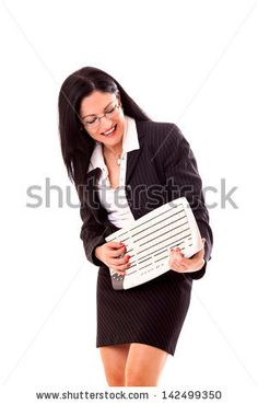Funny professional woman performing with the keyboard instead of guitar. by eZeePics Studio, via ShutterStock