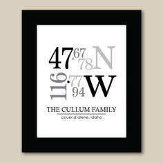 Personalized Latitude and Longitude Coordinated Print - Custom Location Wedding Print - Housewarming Gift - Custom Family Name via Etsy