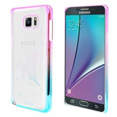 Insten Clear Butterfly Hard Snap-on Rubberized Matte Case Cover For Samsung Galaxy Note 5