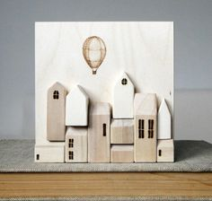 Etsy -Miniature Wood Wall Town - Original Art