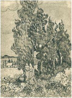 Cypresses with Two Women in the Foreground Vincent van Gogh Drawing, Black chalk, reed pen Saint-Rémy: February, 1890 Artist Van Gogh, Van Gogh Art, Art Van, Vincent Van Gogh, Van Gogh Drawings, Van Gogh Paintings, Desenhos Van Gogh, Van Gogh Landscapes, Art Ancien