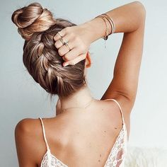 Upside down braid to top knot hairstyle