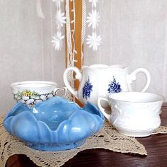 Eeeek!!! Found some incredible beauties this past week thought I'd take a moment to show them off  The two teacups are fine bone china and sooooo cute!  Ehmm... can anyone tell I'm obsessed with blue right now?  - - - - - - - - - - #blue #finebonechina #vintageteacups #lacedoily #teatime #etsian #blueforever #etsylove #treasuresdelmar #teaparty #flowerplanters #teacupplanter #treasurehunt #thriftstorefinds #thrifting #estatesalefinds #thrifted #thrifting #flowerteacup