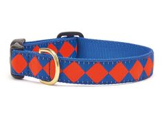Go Team! Your furry sports fan will stand out in the crowd at the Game Day Tailgate in this adorable Blue and Orange Diamond Ribbon Collar! Our Team Spirit Dog Collars feature High-tensile strength ny Unique Dog Collars, Cute Dog Collars, Cat Collars, Designer Dog Collars, Diamond Dogs, Dog Best Friend, Dog Games, Country Blue, Dog Id