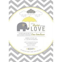 Yellow and Grey Elephant Baby Shower Printable Invitation
