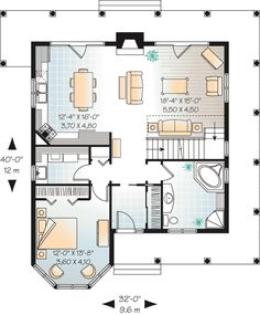 Contemporary Country House Plan 65554 Level One