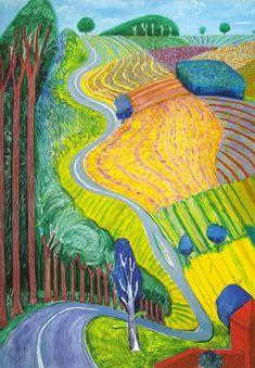 Going Up Garrowby Hill David Hockney Yorkshire print in 11 x 14 mount SUPERB