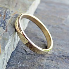 Flat Gold Wedding Band  3mm Wedding Ring in Solid by brightsmith