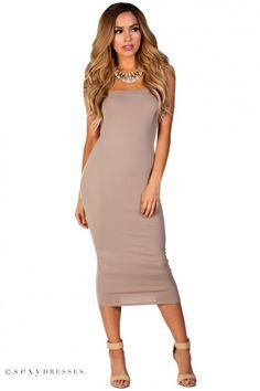 """""""Tara"""" Taupe Bodycon Strapless Midi Tube Dress"""