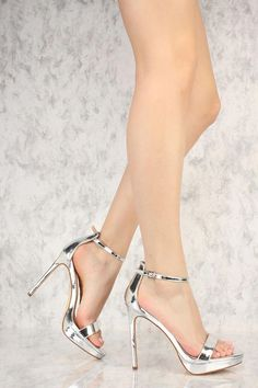 8210f4d1c2d78e Silver Metallic Single Sole Open Toe High Heels Faux Leather  Promheels