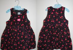 36ea6b446e3 80s oshkosh roses corduroy dress pink girls 6 USA made osh kosh floral  flowers black red