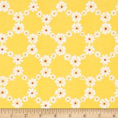 Michael Miller Happy Tones Jemma Floral Lattice Yellow from @fabricdotcom  Designed for Michael Miller, this cotton print fabric is perfect for quilting, craft projects, apparel and home décor accents. Colors include white and orange on a bright yellow background.