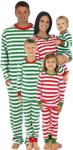 SleepytimePjs Family Matching Christmas Red or Green Striped Knit Pajamas  for the Family f2ea5697b
