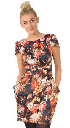 Closet Winter Floral Pocket Dress: Black Print