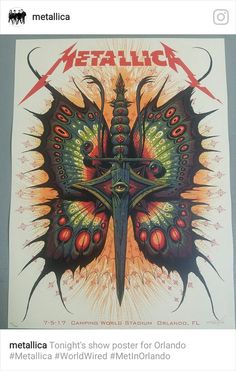 "Metallica ( ""Tonight's show poster for Orlando Metallica Tattoo, Metallica Art, Metallica Concert, Hard Rock, Rock Band Posters, Metal Tattoo, Heavy Metal Bands, Woodstock, Music Bands"