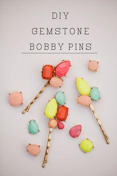 DIY Gemstone Bobby Pins | These are so cute. #DiyReady www.diyready.com