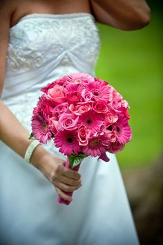 Gerbera and rose bridal bouquet - Approx Gerbera Bouquet, Prom Bouquet, Pink Gerbera, Bridal Bouquet Pink, Bride Bouquets, Hot Pink Bouquet, Gerbera Wedding, Daisy Wedding, Floral Wedding