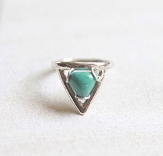 Natural Turquoise Triangle Ring – donbiujewelry