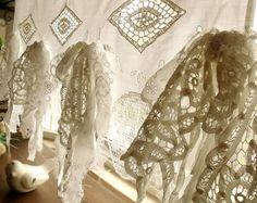 ¡Impresionante! Encaje antiguo estandarte francés cocina Cafe cortina Vintage Crochet flecos WhiteCotton