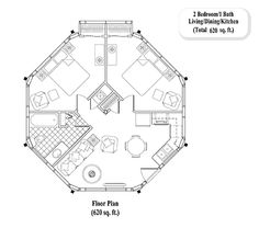 Online Guest House Floor Plan : 2 Bed, 1 Bath, Living Area, Dining & Kitchen (620 sq. ft.) - GUEST HOUSE  Collection [GH-0203]