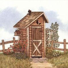 Garden Outhouse I Poster Print by Linda Spivey (12 x 12)