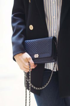 My first Chanel, the Wallet on a Chain in Navy Herringbone from the Paris store, so special!