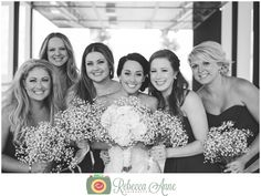 Greg & Kelsey's wedding at Historic 1625 in Tacoma by local Tacoma Wedding Photographer, Rebecca Anne Photography. #bridalparty #bridesmaids #flowers #poses #babysbreath