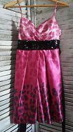 JR Sz 11 City Triangles Pink/Black Leopard Print Sequined Ombre Party Dress