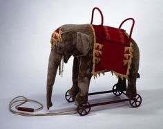 Elephant Pull Toy, made around on display at McCord Museum (make miniature and life size) Vintage Circus, Vintage Toys, Antique Toys, Vintage Antiques, Stuffed Animals, Objets Antiques, Victorian Toys, Elephant Art, Elephant Stuff