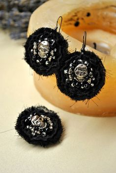 "Hoop Earrings – Silver skull Earrings and brooch ""Happy Halloween!!!"" – a unique product by Cheka. Via en.DaWanda.com."