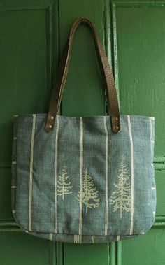 Warm Blue Striped Cloth Tote with Douglas Fir