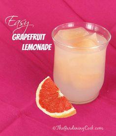 Easy Grapefruit Lemonade - great way to use grapefruit ice cubes