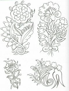 Nice folk art floral embroidery patterns ideas from 29 Folk Art Floral Embroidery Patterns Jacobean Embroidery, Floral Embroidery Patterns, Crewel Embroidery, Flower Patterns, Embroidery Designs, Bordado Popular, Tattoo Design Drawings, Tattoo Designs, Drawing Templates