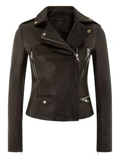 Vila Black Cropped Leather Biker Jacket www.muubaa.com #Muubaa #AW15