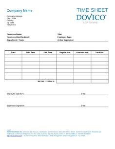 Microsoft Word Employee Timesheet Template By Dovico  Buisness