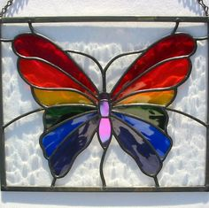 Rainbow Butterfly Stained Glass Hanging Window by LivingGlassArt