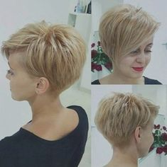 "Best Short Haircuts for Fine Hair: Stacked Pixie Haircut; pixiehaircut ""Your hair can become thinner aft Cute Short Haircuts, Haircuts For Fine Hair, Short Asymetrical Haircuts, Haircut Short, Pixie Haircut Fine Hair, Pixie Long Bangs, Short Fine Hair, Asymmetrical Pixie Cuts, Hairstyle Short"