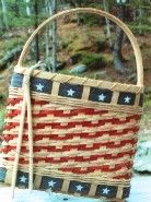Fife and Drum basket from BasketWeavingSupplies.com - made this one and it turned to be easier than I expected - added red, white & blue flowers and hung on the door.