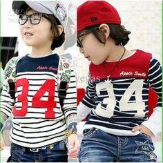boys t shirts children girls long sleeve cotton tops kids stripe t shirts boys clothes hzgg-zsz