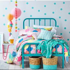 Bedroom Inspiration Courtesy of Milka Interiors #Milky Interiors Ice-cream night light and wall stickers available at www.littleredchick.com.au