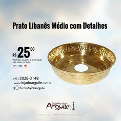 Prato Libanês Médio com Detalhes De R$ 30,00 / Por R$ 25,00 ou R$ 23,75 via depósito  Confira em: http://www.lojadoarguile.com.br/prato-libanes-medio-com-detalhes