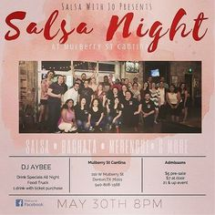 """Tomorrow night @mulberrystreetcantina W/ @salsawithjo  """"Mi gente!! We are back at Mulberry St Cantina!! Come out and join us 5/30 at 8pm and dance the night away!! DJ AYBEE will be providing the hottest tunes! $5 Admission Fee  Drink Specials all night  Food Truck  21 & up event!  Salsa  Bachata  Merengue  & More""""  http://ift.tt/2qvx8lk #salsadancing #bachatadancing #latindance #salsawithjo #dentontx #dentoning #dentonslacker #dentonsquare #latinnight"""