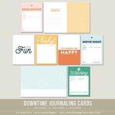 This set of eight digital journaling cards is perfect for pocket page protectors, scrapbooking and mini-books. Included in this set are individual high resolution .png files and two printable .pdf pages.This set contains: 6 - 3x4* Journaling cards 2 - 4x6 Journaling cards*actual size of cards is 2.95x4 to comfortably fit Project Life page protector pocketsNote: For personal use only. This is a downloadable product
